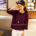 2016 spring autumn clothes new loose sweater round neck cashmere sweater women solid color raglan sweater large size pullover