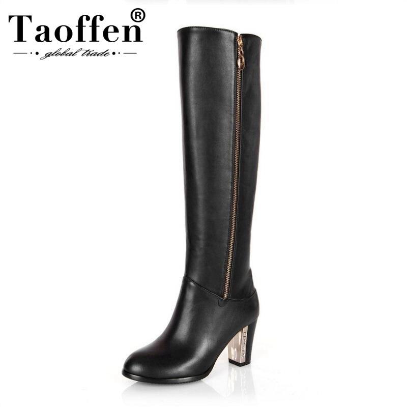 35846e003dc Mode Femmes La À De Équitation Hauts D hiver Genou 30 Zipper Talons Cuir  Neige Bottes Taille Chaussures 45 Sexy ...