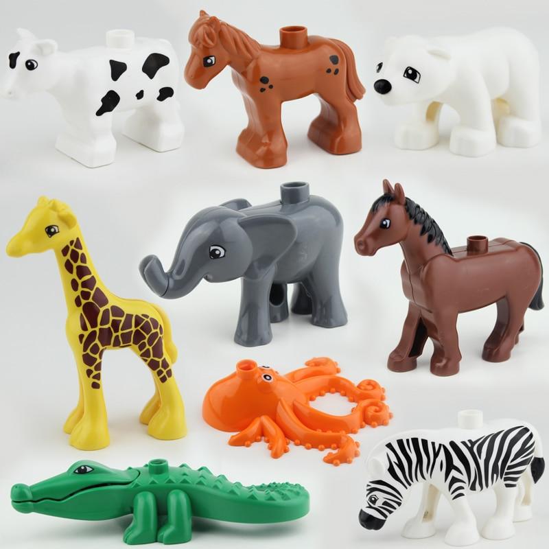 10pcs/lot Ocean Forest Farm Animal Model Building Blocks Set Toys Compatible with Duploe Animals jouets