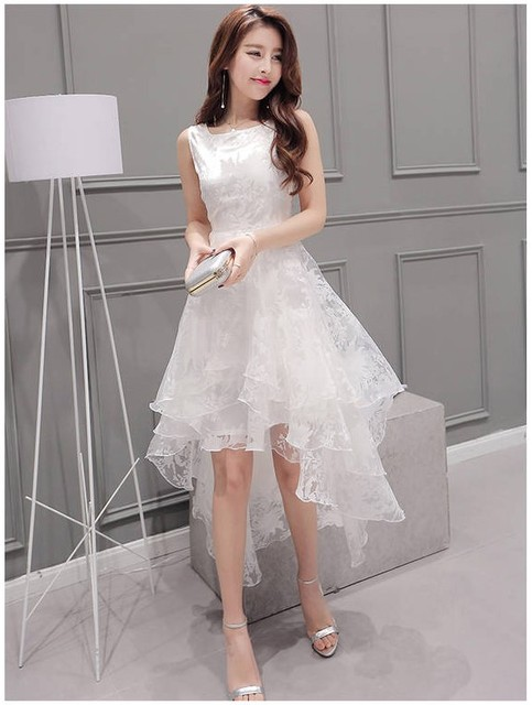 New Design White Organza Beautiful Dresses Women S Casual Summer Trumpet Dress School Elegant Size Xl