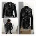 Moda Masculina Do Punk DJ outerwear preto exalam Rebite do punk jaqueta de Couro da motocicleta masculino roupas trajes para a cantora dançarina