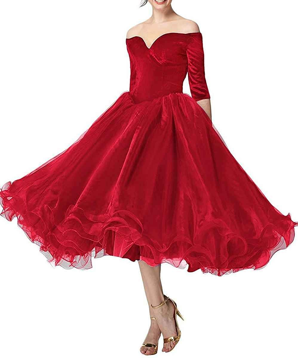 Robe de bal élégante JaneVini robe de bal bordeaux pour femme de grande taille col en V Organza longueur de thé robes de bal formelles Vestidos Largos - 3