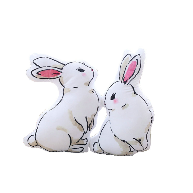 Ins hot plush Rabbit simulation Stuffed printed White Rabbits Home & sofa decorate Bed room decoration Toys for children