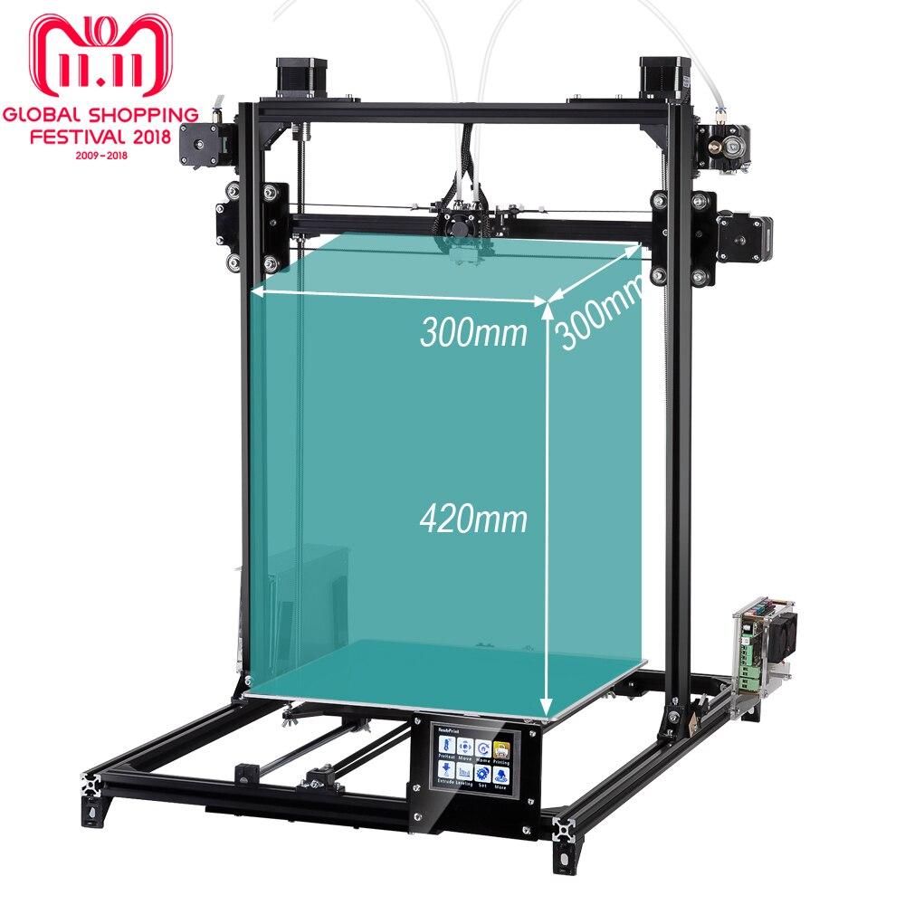 Flsun 3D Imprimante kit Grande Zone D'impression 300*300*420mm Niveau Automatique Double Extrudeuse écran Tactile Une rouleaux filament Cadeau