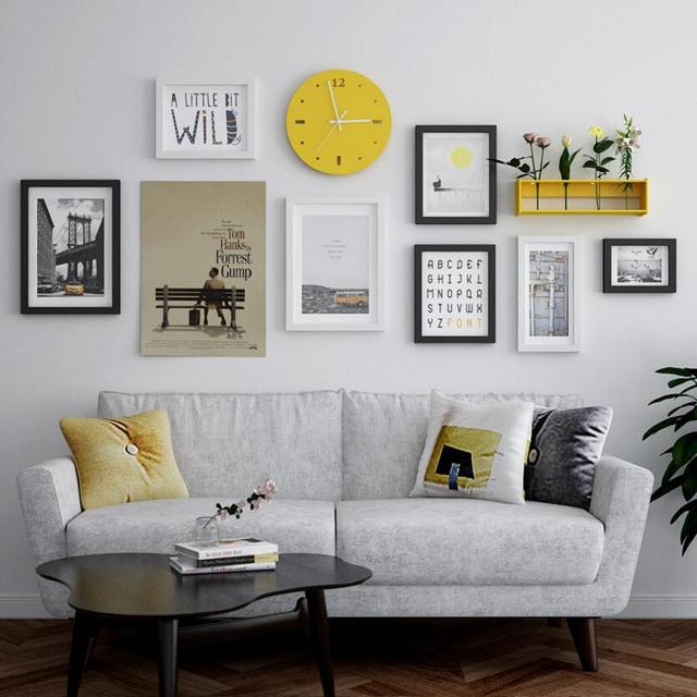 Multi-frame Modern Stype  Big photo frame home creative clocks photo wall Decoration Wooden Picture Frame Set Wall Photo Frames