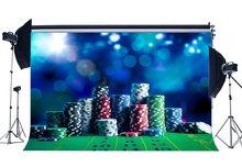 Casino Chip Sfondo Dadi e Carte Fondali Bokeh Glitter Paillettes Benvenuti a Las Vegas Fotografia di Sfondo