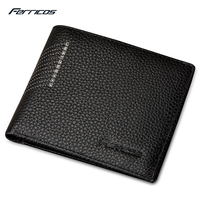 2017 FERRICOS Black Solid Men Wallets Men Purse Short Wallet Business Fashion Wallet