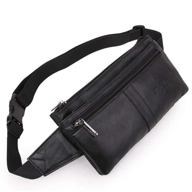 Men Genuine Leather Real Cowhide Trend Belt Hip Bum Waist Fanny Pack Coin Purse Travel Male Cell Phone Pocket Money Bag Pouch