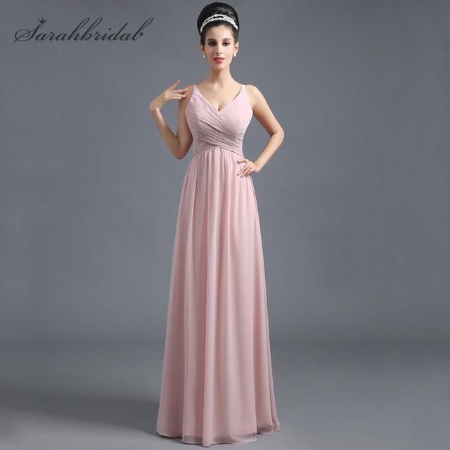 512c2a4241c Simple V-Neck Sash Prom Dresses With Pleats Chiffon Floor-Length Line-A  Custom Made Plus Size Bridesmaid Gowns Hot Sales SD293