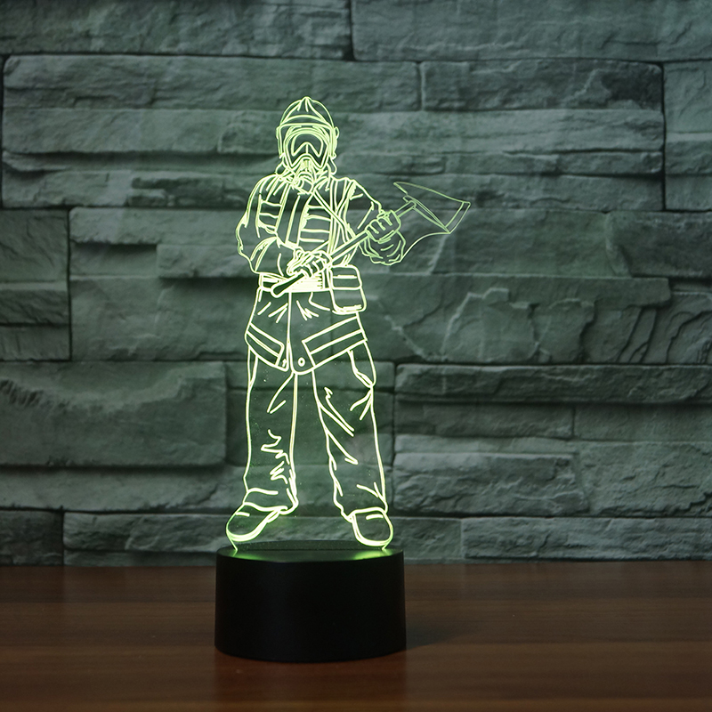 3D USB Fireman Shape NightLight 7 Colors Mood LED Touch Button Table Lamp Ceative Kids Gifts Bedroom Decor Lampara Light Fixture
