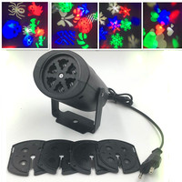 Chrismas Lighting Decoration LED Snowflake Projector 3W 4 Pattern Lens Halloween Lighting DJ KTV Bar Rotating