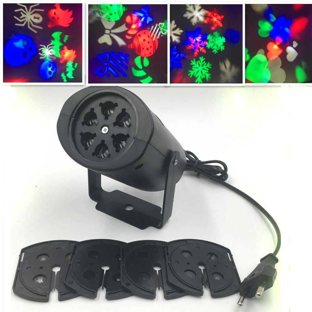 Рождественский Освещение украшения LED Снежинка проектор 3 Вт 4 линзы Хэллоуин Освещение DJ КТВ Бар вращающийся этап лампа