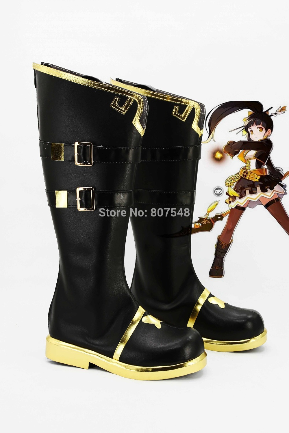 New Arrival Anime ELSWORD Magic Ella Cosplay Women Boots Girls Shoes Custom Knee Length Boots Free Shipping