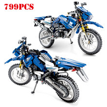 799pcs Diy Technic Series Cruising Motorcycle Vehicle Building Blocks Compatible Legoing Motor Bike Bricks Toy For Children Gift(China)