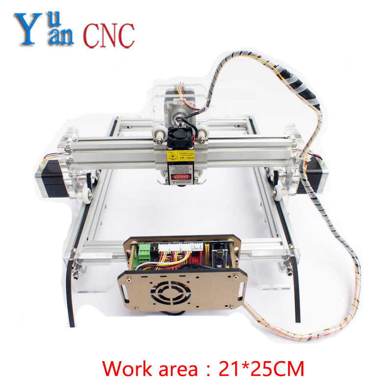 Yuyan DIY Laser Engraving CNC machine, mark cutting machine, mini-plotter Wood Router V5 control system Work area 21*25CM