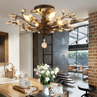 American Country Creative Restaurant Ceiling Light Cafe Livingroom Bedroom Study Branches Candle Crystal Lamp Free Shipping
