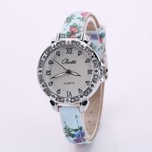 Elegant Ladies Women Crystal Roman Numerals Flowers PU Leather Band Casual Fashion Wrist Watch New Design C2231P20