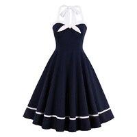 Sisjuly Women Summer Blue Dress Female Spring Solid Halter Dresses Sleeveless Knee Length A Line Sashes