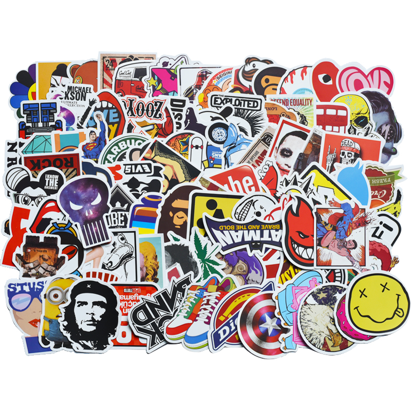 100 Pcs/pack Classic Fashion Graffiti Stickers For Moto Car & Suitcase Cool Funny Toy Stickers Stickers Skateboard Sticker Gxtz