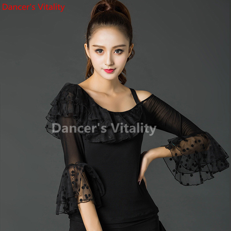 Modern Lace Long Sleeve Modern Latin Dance Clothes Top For Women/female/girl, Tango Samba Ballroom Costume Performance Wear