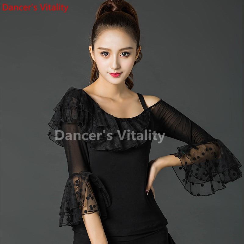 Modern Lace Long Sleeve Modern Latin Dance Clothes Top For Women/female/girl, Tango Samba Ballroom Costume Performance Wear
