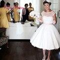Vintage 1950 s Ретро Короткие Свадебные Платья Чай Длины Scoop Шеи Cap Рукавом Горошек Органзы Белый Свадебные Платья на Заказ