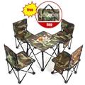 5 in 1 Camping Wandern Im Freien Faltbare Stuhl Tisch Set Angeln Picknick BBQ Stuhl Sitz Ruhe Hocker (4 stücke stuhl + 1pc tisch)
