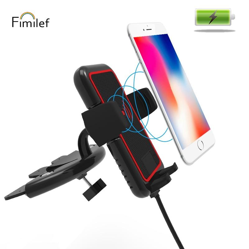 Fimilef 10W <font><b>Car</b></font> <font><b>Holder</b></font> Qi Wireless Charger For Iphone X 8 Plus <font><b>Phone</b></font> Charging <font><b>CD</b></font> <font><b>Slot</b></font> Mount <font><b>Holder</b></font> Fast Charging For Samsung