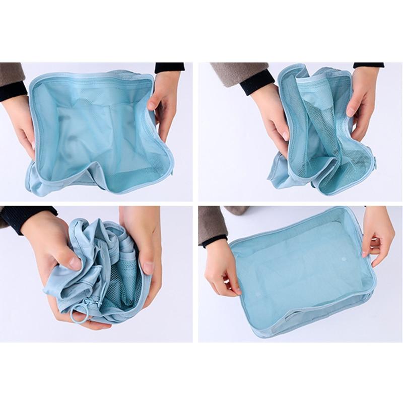 RUPUTIN New 6Pcs/Set High Quality Cloth Waterproof Travel Mesh Bag In Bag Luggage Organizer Packing Cube Organiser For Clothing