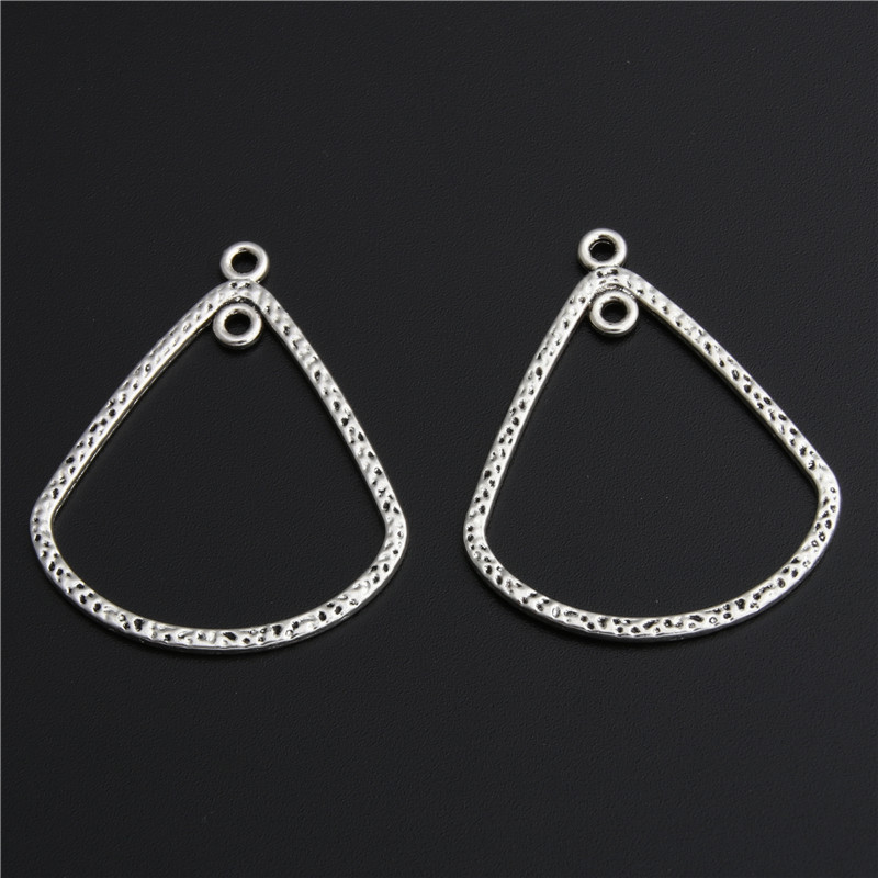 20pcs Antique Silver Drop Shape Diy Pendant Charms Chandelier Jewelry Finding A2787