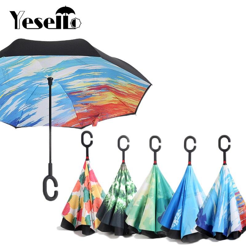 Céu Estrelado Yesello Anti UV Guarda-chuva Invertido Reverso Dobrar Dupla Camada Guarda Chuva Auto Posto de Dentro Para Fora Ensolarado Chuva