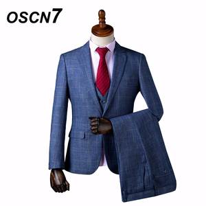 f74e075c684 OSCN7 Wool Tailor Slim Fit Suits for Men 3 Piece
