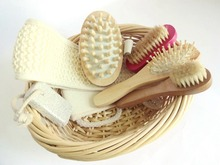 6 pcs/ Bathroom Set Body Massage Natural Loofah Bathroom Accessories Comb Foot File Loofah Sponge Bath Brush Bathroom Products
