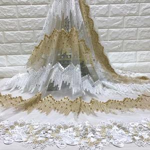 Image 2 - Fashion African Lace Fabric High Quality White gold Lace Nigerian Lace Fabric 2019 High Quality Lace With Beaded 5yards