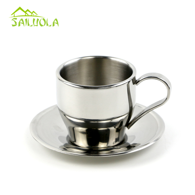 European Style High Quality Stainless Steel Coffee Cup And Saucer Set Double Wall Mug 3