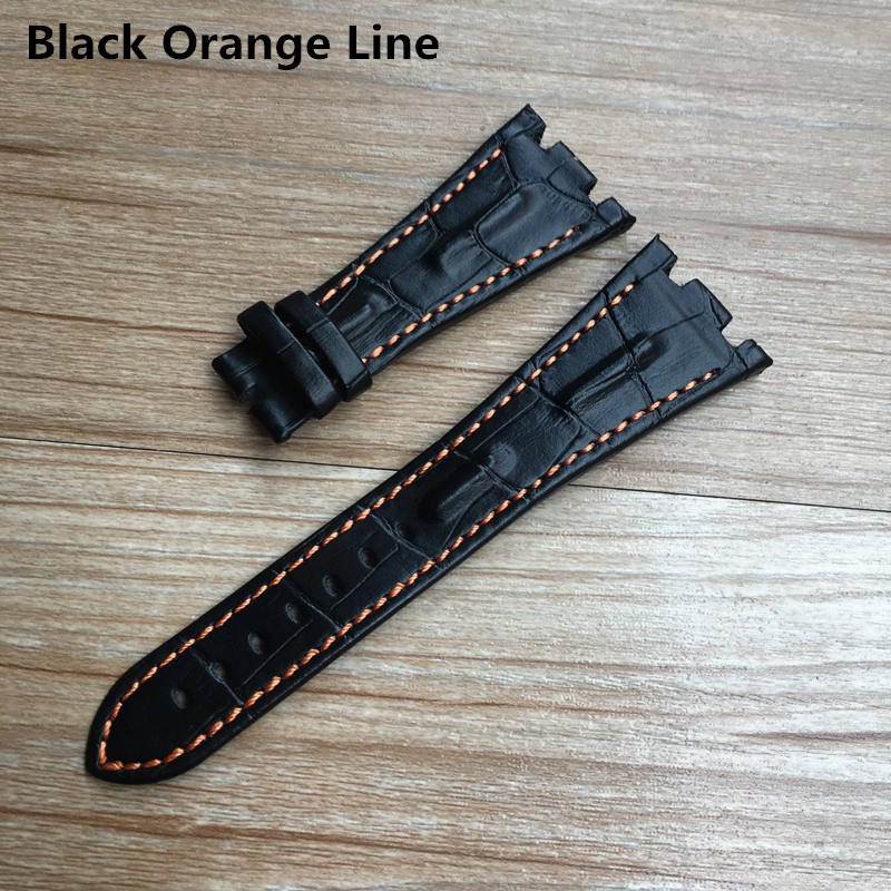 Image 2 - For AP strap 28mm Black Blue Gray Green Brown With Stitches Genuine Leather Watch Band Bracelet with steel deployment buckle-in Watchbands from Watches