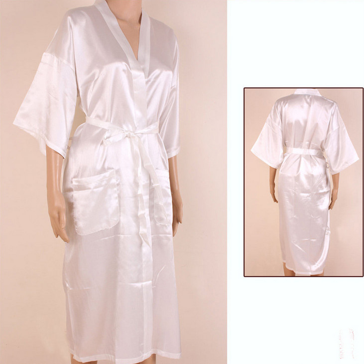 f5b0a29b46 Hot Sale White Chinese Men Rayon Robe Kimono Bath Gown Summer Casual  Sleepwear Solid Color Pajamas S M L XL XXL XXXL MR004