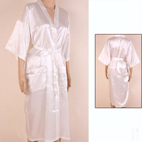 Hot Sale White Chinese Men Rayon Robe Kimono Bath Gown Summer Casual Sleepwear Solid Color Pajamas