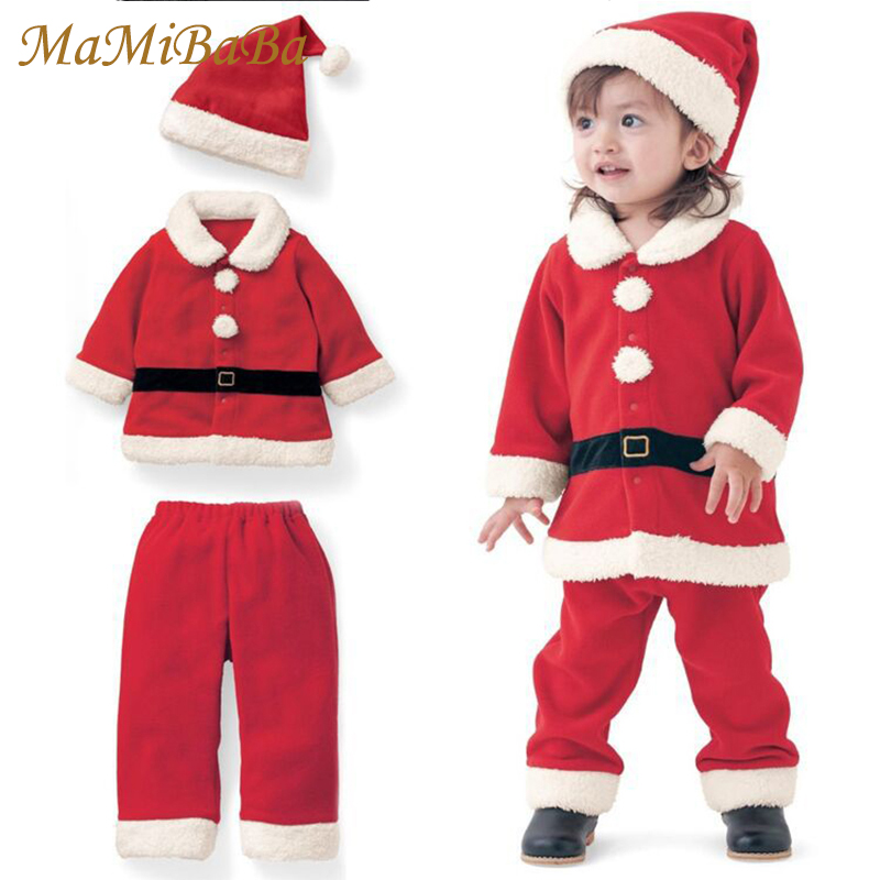 Baby Christmas Clothes Suit 2016 New Sets Santa Claus Clothing Set Hat Tops Pant 3pcs Boys