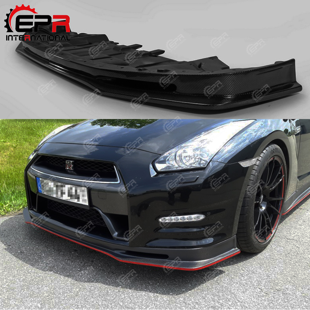 For Nissan GTR 2012 On R35 Late Nismo Craft Style Carbon Fiber Front Lip Glossy Finish