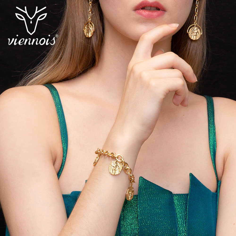 Viennois Bangles Fashion Bracelets Gold-Color Women And Metal Geometric for New