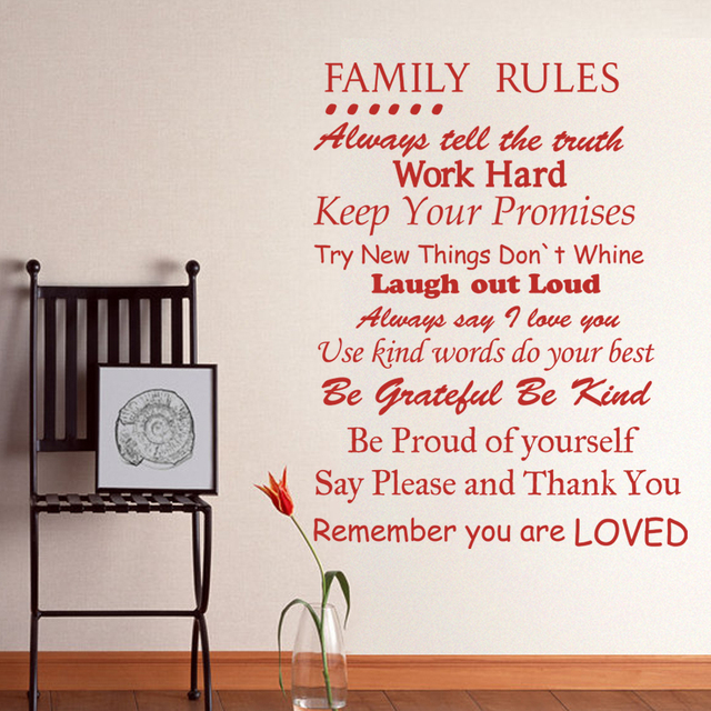 Family Rules   Remember You Are Loved   Family Wall Quote Decal Inspirational  Wall Art Vinyl