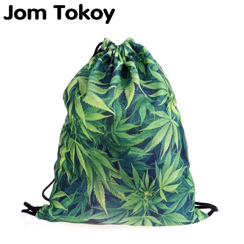New Fashion Women Green Leaf Drawstring Backpack 3D Printing Travel Softback Women Mochila Drawstring Bags