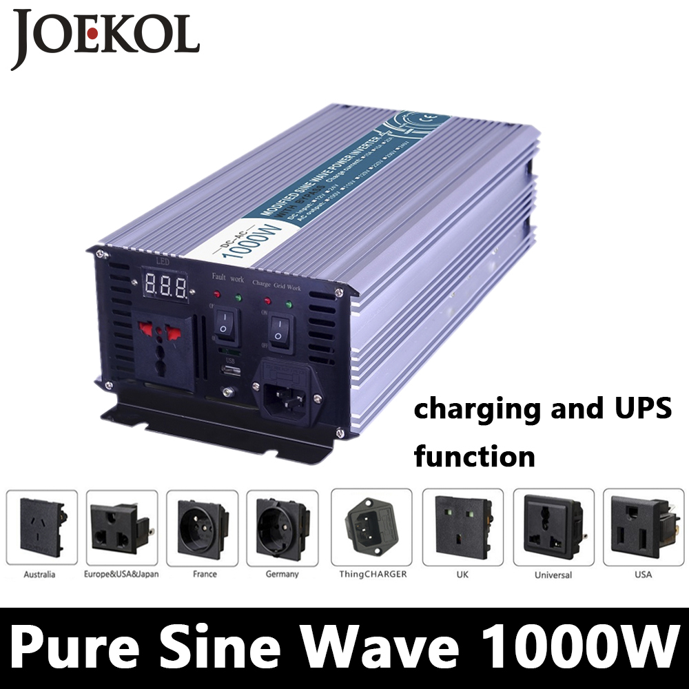 1000W Pure Sine Wave Inverter,DC 12V/24V/48V To AC110V/220V,off Grid Solar power Inverter,voltage Converter with charger and UPS 1kw solar grid tie inverter 12v dc to ac 230v pure sine wave power pv converter