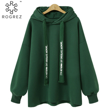 ROGREZ Black Green Plus Size Casual Hooded Women Hoody Pullovers Long Sleeve Hoodies Female Sweatshirt