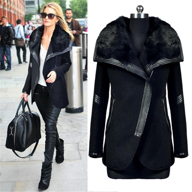 New Winter Wool Coats And Jackets Fur Collar Women 2015 Black ...