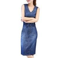 Denim dress women Vintage Summer Sexy deep V-Neck Sleeveless Casual jean dresses female Pockets Slim blue vestidos Plus Size