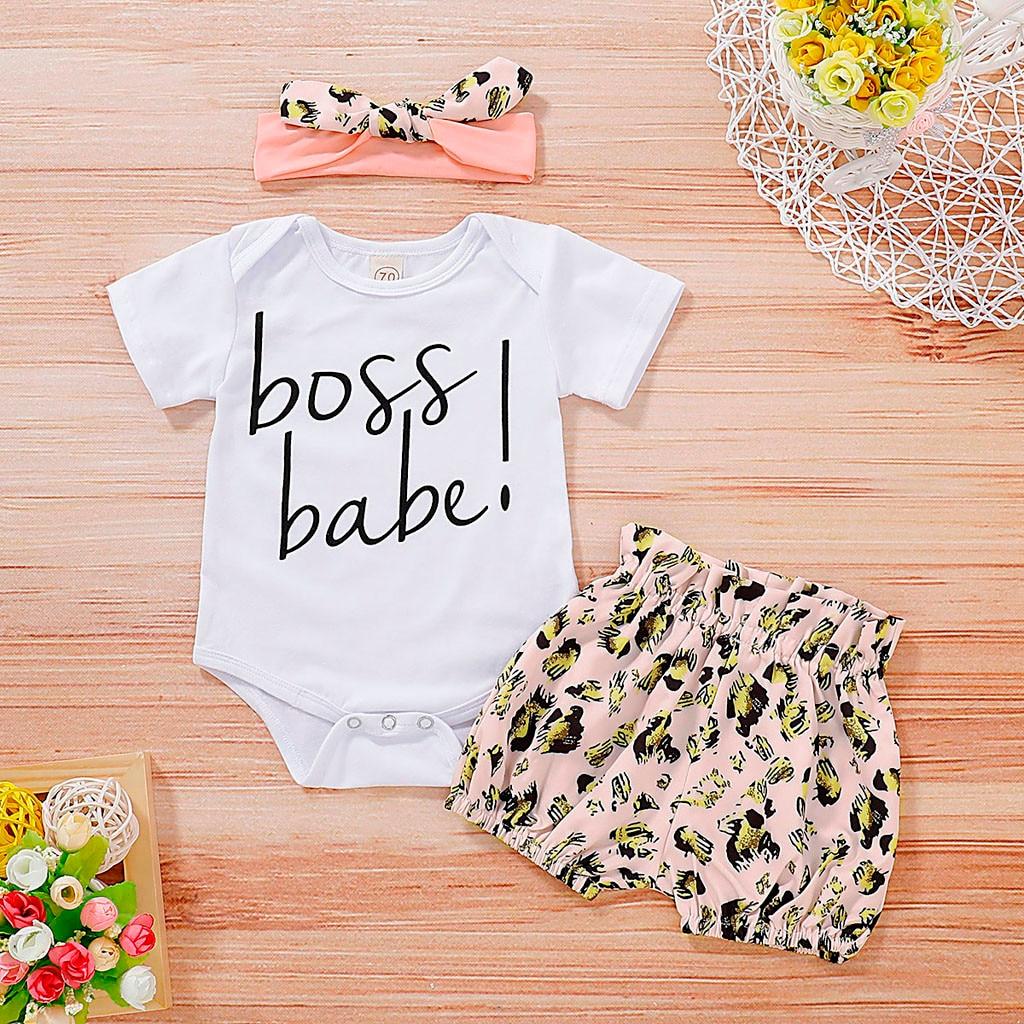 Enfants vêtements bébé Enfant en bas âge filles lettre imprimé barboteuse léopard Shorts bandeau tenues ensemble Vetement Enfant Fille filles vêtements