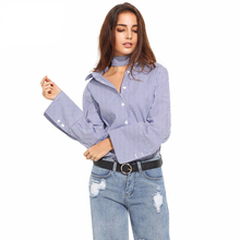 Flare Sleeve Women Blouse Shirts Stripe Single Breasted Long Sleeve Female Shirt Lacing Casual Loose Basic Tops For Wholesale