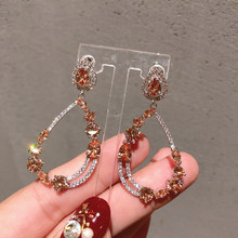 S925 Silver Needle Korean  High-end Geometric Champagne vintage jewelry fashion luxury bohemian earrings